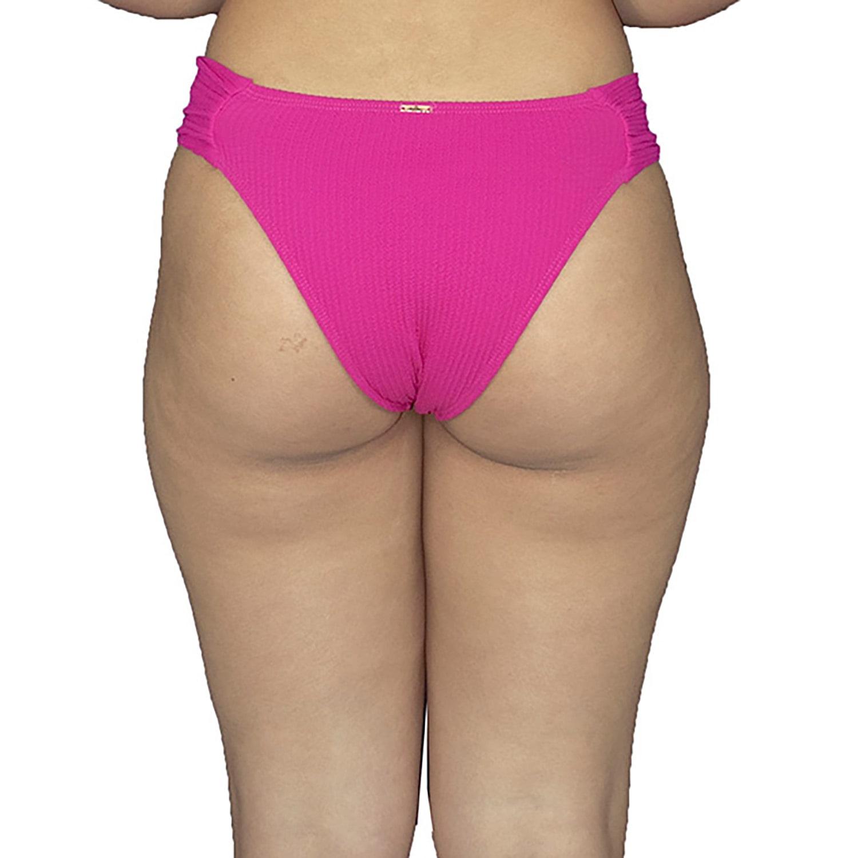 Calcinha de Biquíni Franzido Canelado Pink