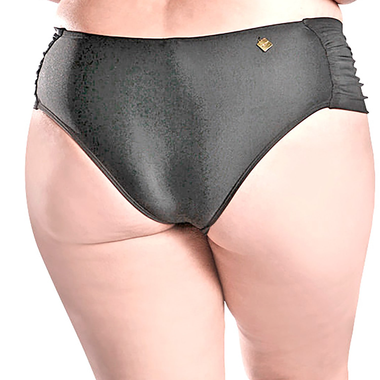 Calcinha de Biquíni Plus Size Cintura Alta com Franzido Lateral Preto