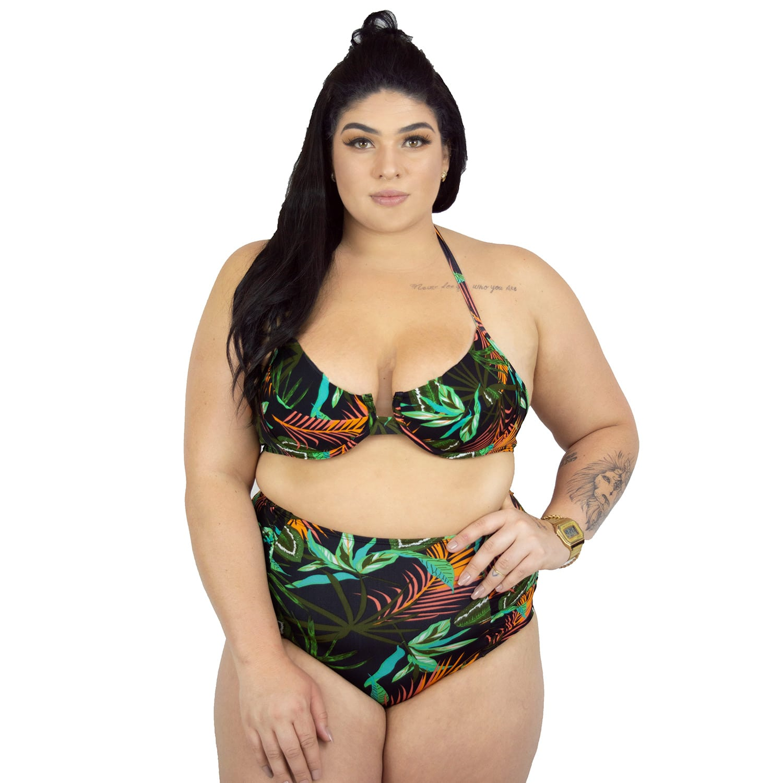 Calcinha de Biquíni Plus Size Hot Pant Franzido Tropicalia