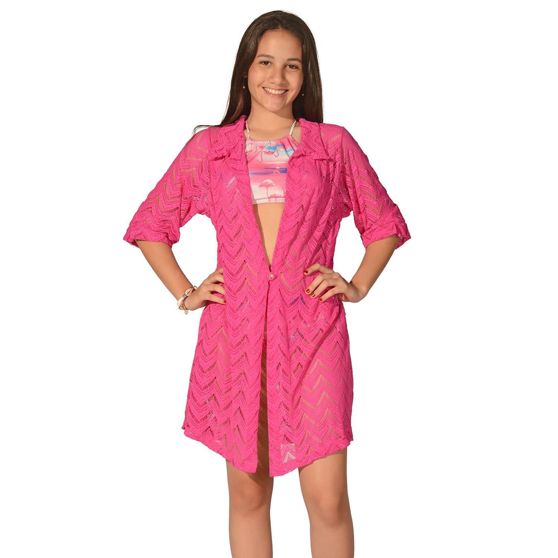 Camisão Saída de Praia Teen Renda Pink