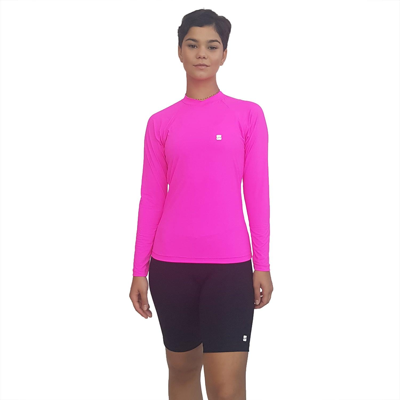 Camiseta Ciclismo Feminina Manga Longa UV 50+ Rosa Florescente