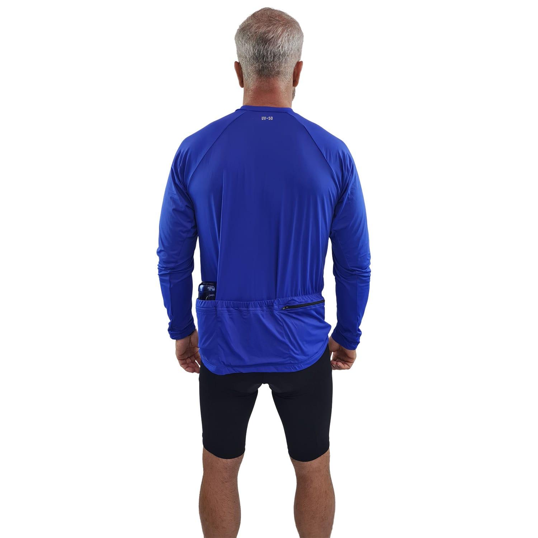 Camiseta Ciclismo Masculina Manga Longa UV 50+ Azul Bic