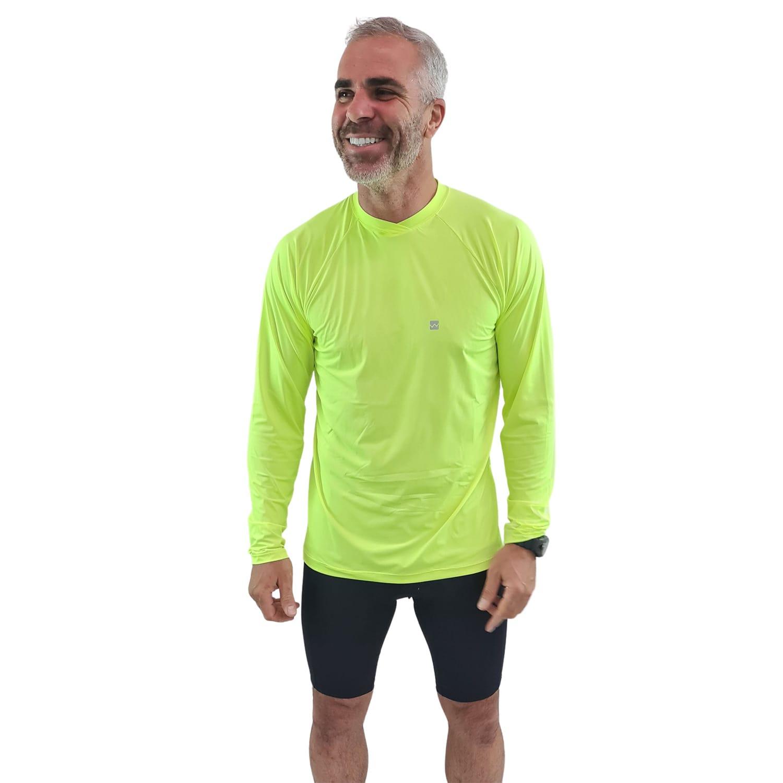 Camiseta Ciclismo Masculina Manga Longa UV 50+ Verde Florescente