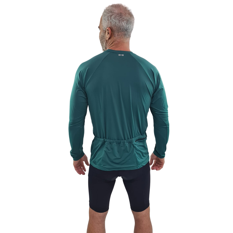 Camiseta Ciclismo Masculina Manga Longa UV 50+ Verde Galápagos