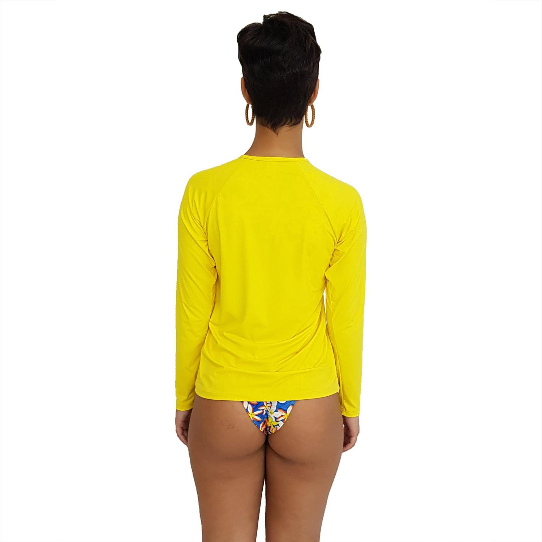 Camiseta Feminina Manga Longa UV 50+ Amarelo