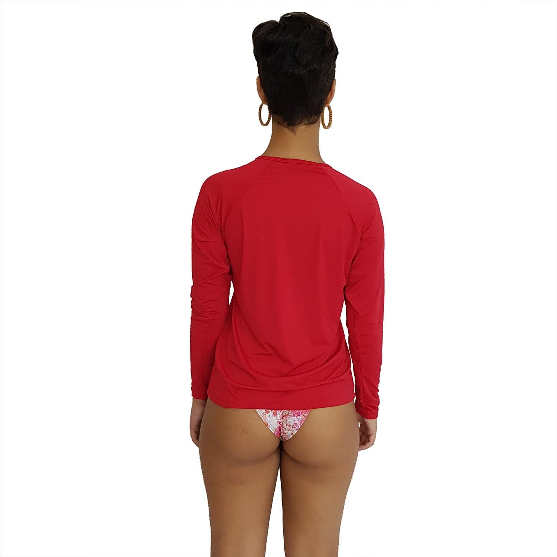 Camiseta Feminina Manga Longa UV 50+ Vermelho