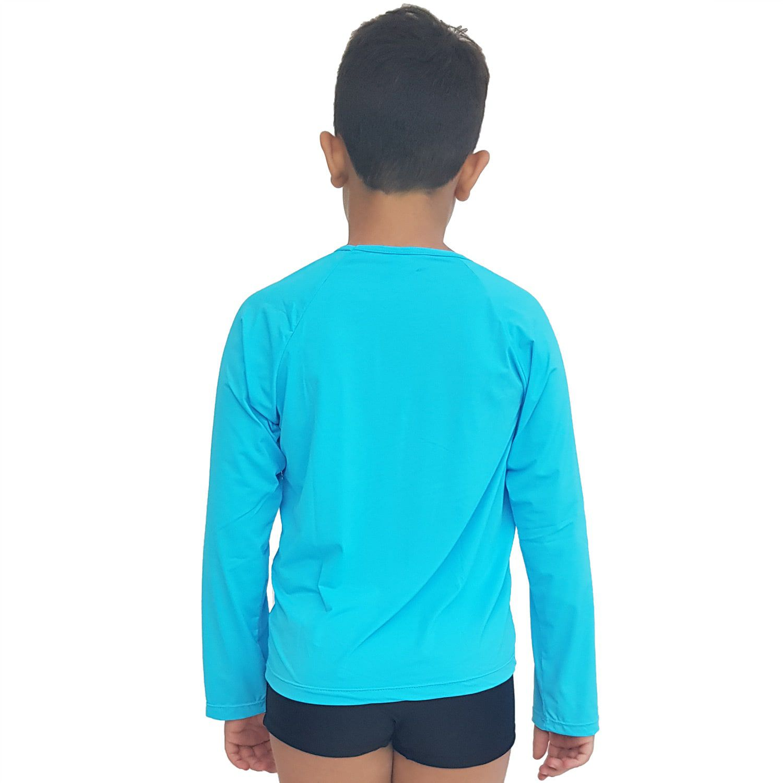 Camiseta Masculina Teen Manga Longa UV 50+ Azul Blau