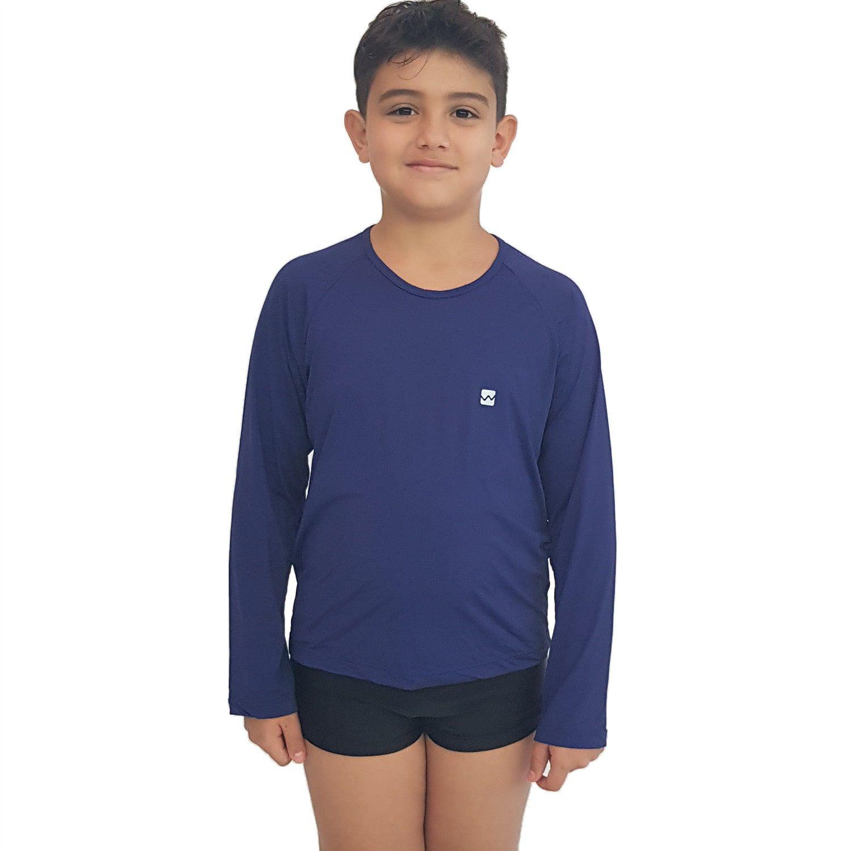 Camiseta Masculina Teen Manga Longa UV 50+ Azul Marinho