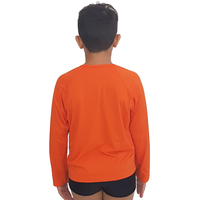 Camiseta Masculina Teen Manga Longa UV 50+ Laranja