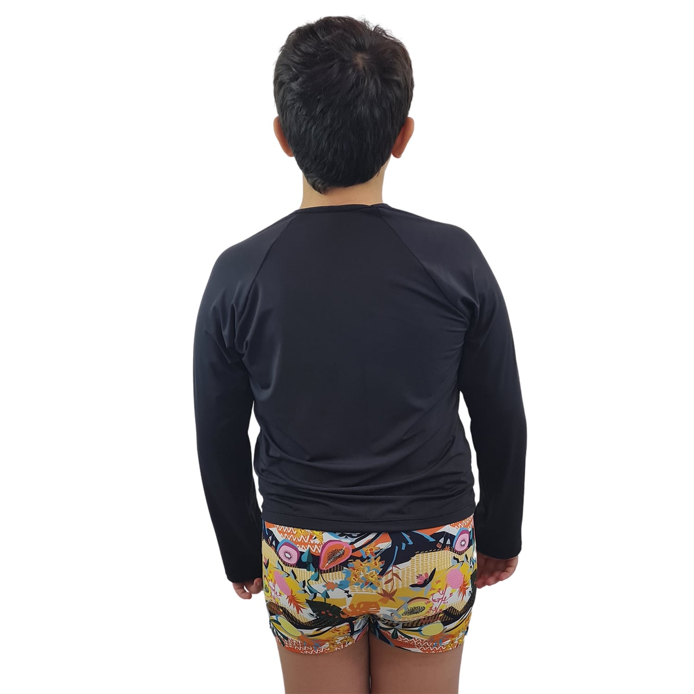 Camiseta Masculina Teen Manga Longa UV 50+ Preto