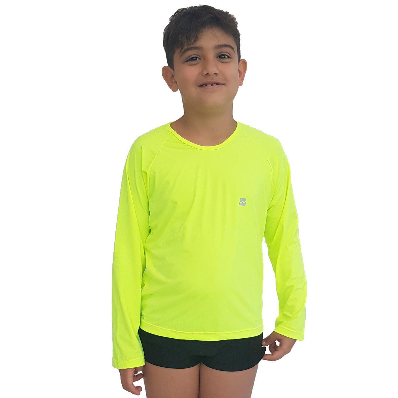 Camiseta Masculina Teen Manga Longa UV 50+ Verde Fluorescente