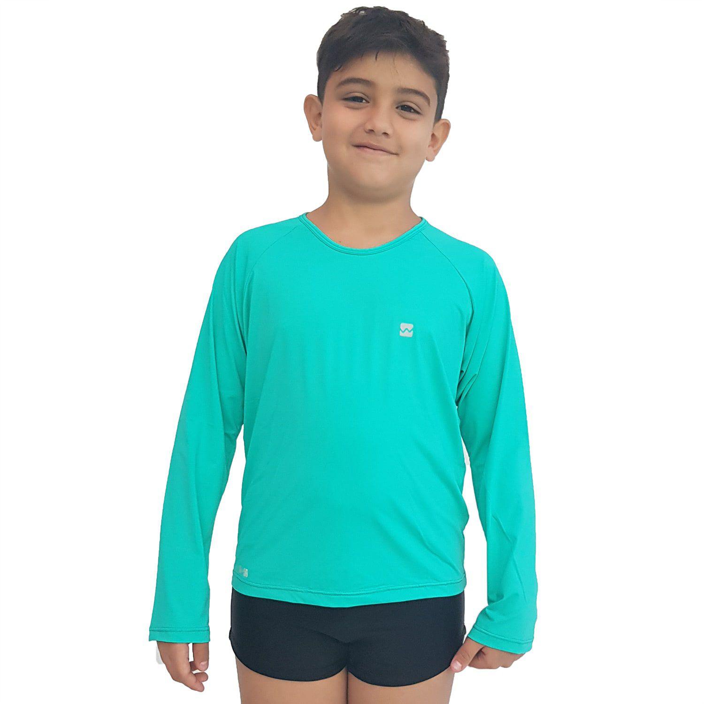 Camiseta Masculina Teen Manga Longa UV 50+ Verde Nanai