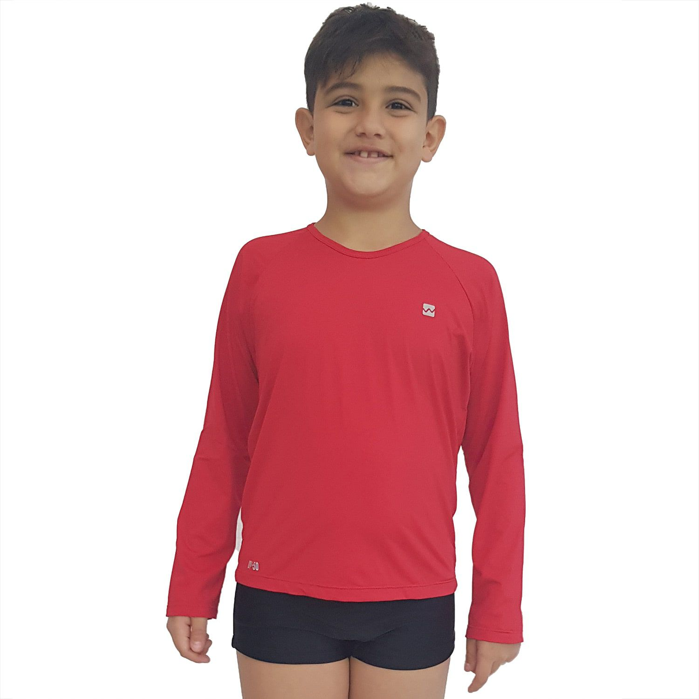 Camiseta Masculina Teen Manga Longa UV 50+ Vermelho