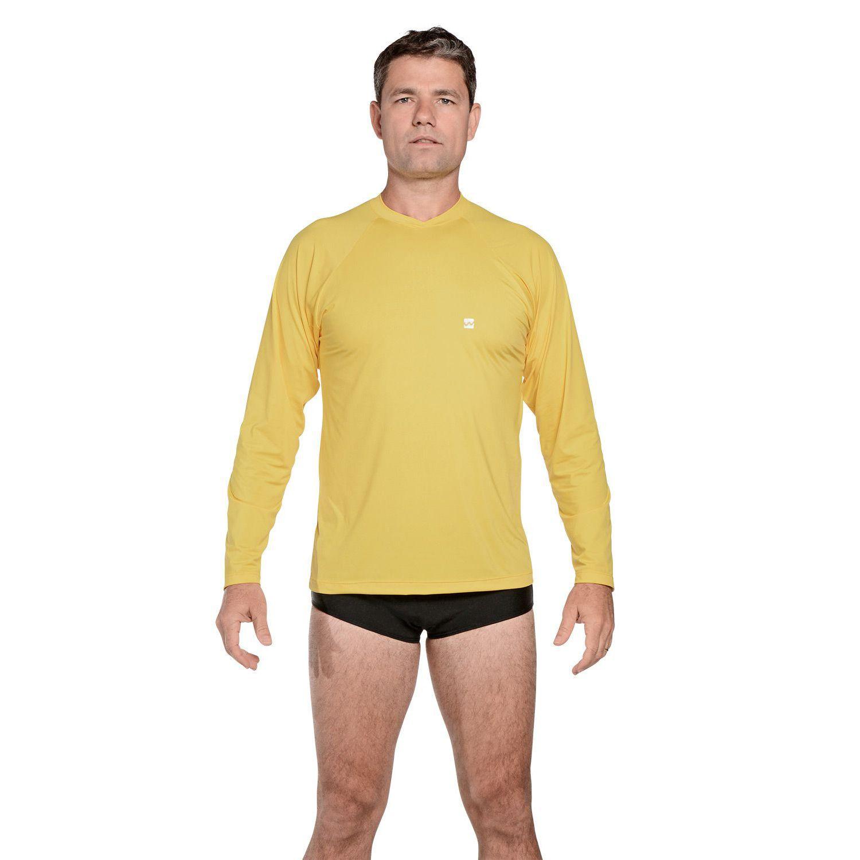 Camiseta Masculina Manga Longa UV 50+ Amarelo