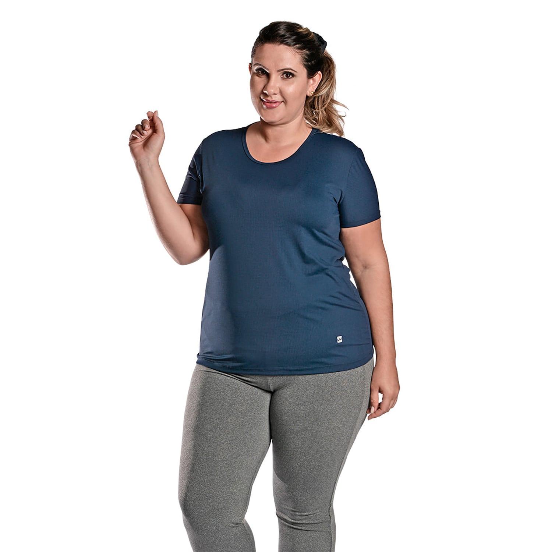 Camiseta Feminina Plus Size Manga Curta UV 50+ New Trip Azul Marinho