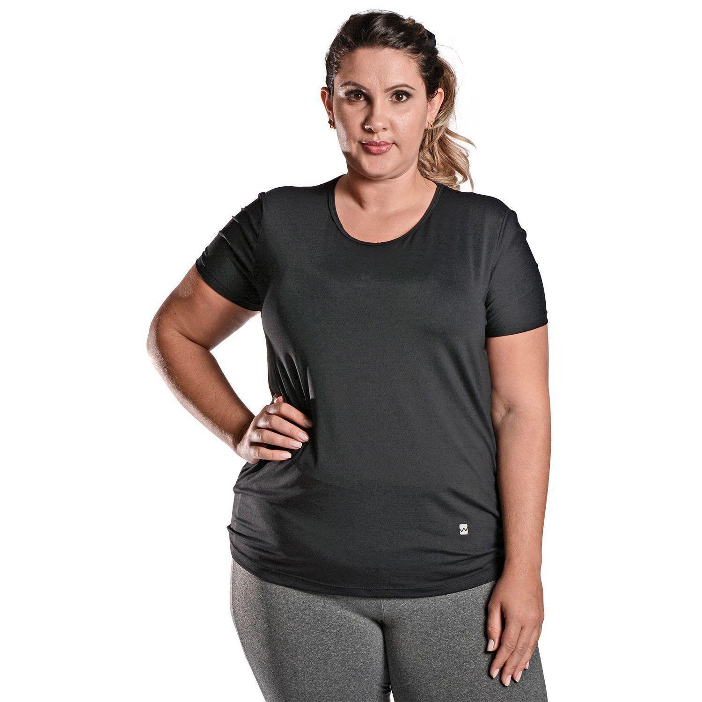 Camiseta Feminina Plus Size Manga Curta UV 50+ New Trip Preto