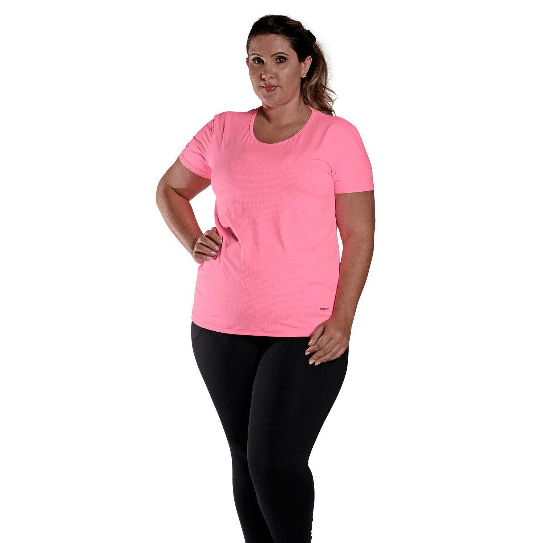 Camiseta Feminina Plus Size Manga Curta UV 50+ New Trip Rosa Fluorescente