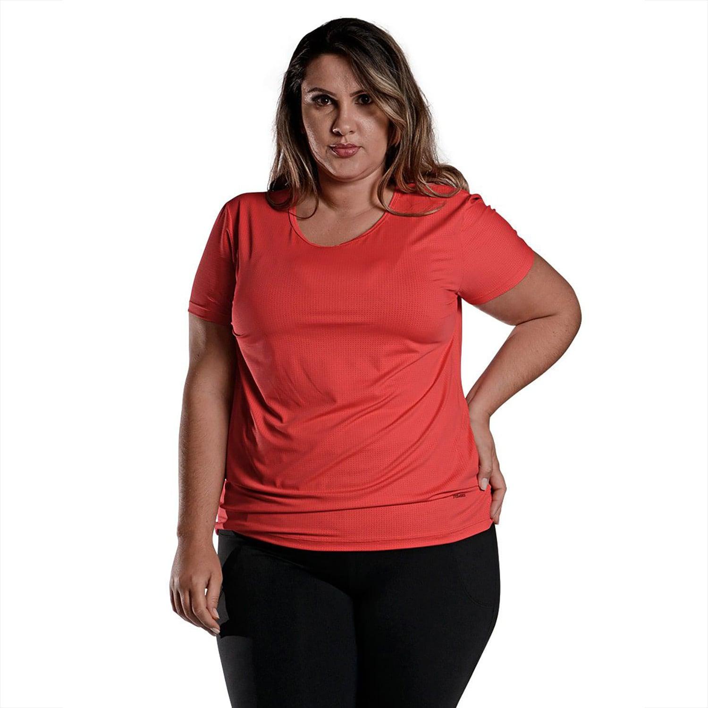 Camiseta Feminina Plus Size Manga Curta UV 50+ New Trip Vermelho