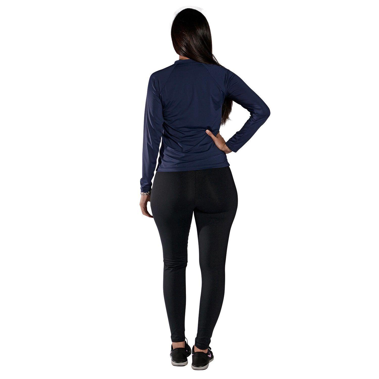 Camiseta Feminina Manga Longa UV 50+ Azul Marinho