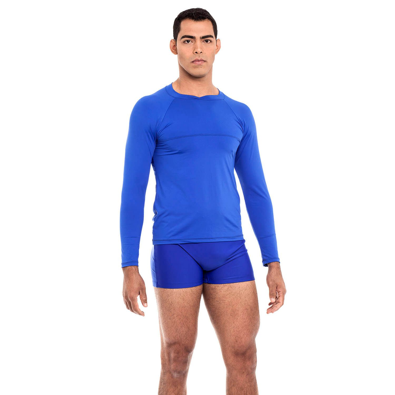 Camiseta Masculina Manga Longa UV 50+ Azul Bic