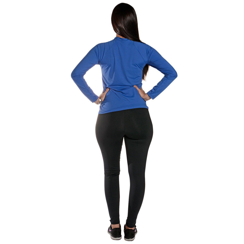 Camiseta Feminina Manga Longa UV 50+ Azul Bic