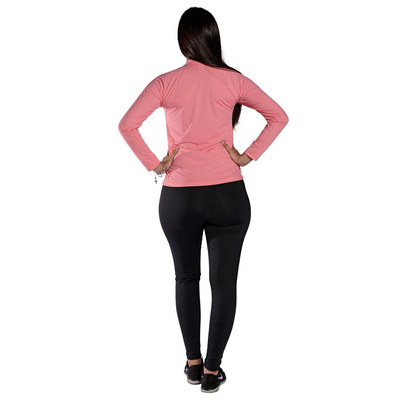 Camiseta Feminina Manga Longa UV 50+ Rosa Claro