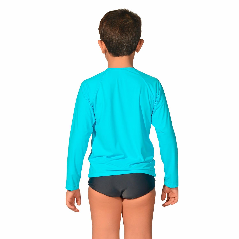 Camiseta Infantil Manga Longa UV 50+ Azul Claro