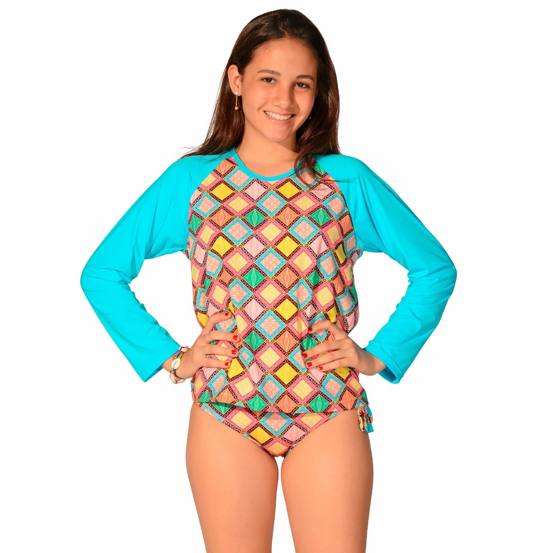 Camiseta Infantil Manga Longa UV 50+ Azulejo