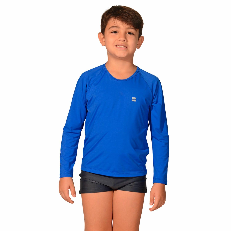 Camiseta Infantil Manga Longa UV 50+ Azul Bic