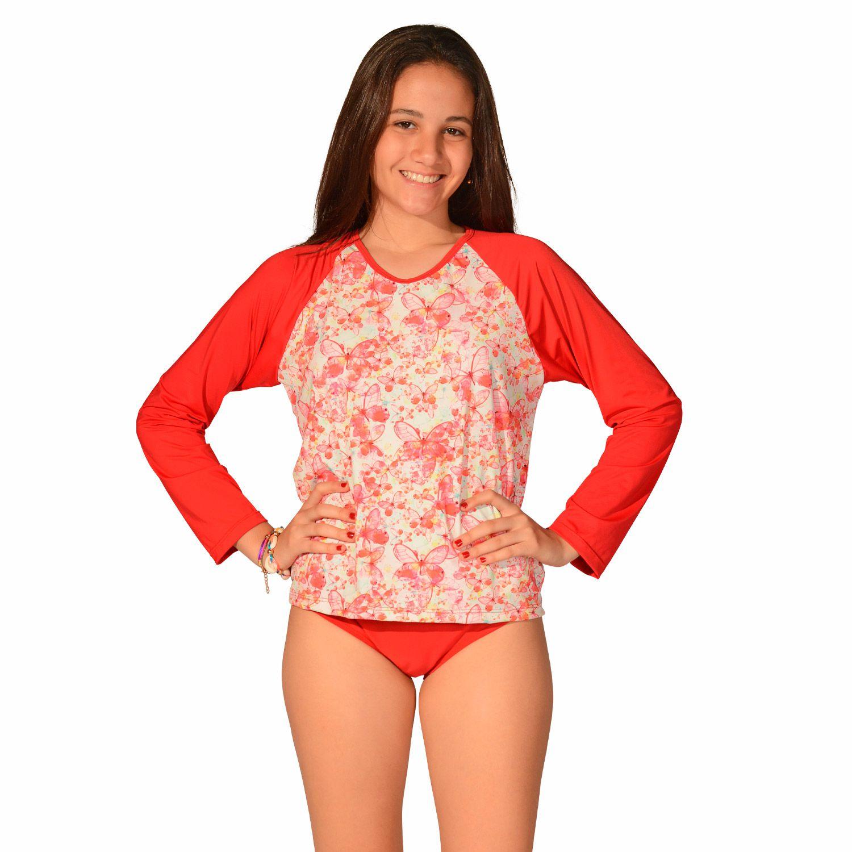 Camiseta Uv Praia Infantil Borboleta