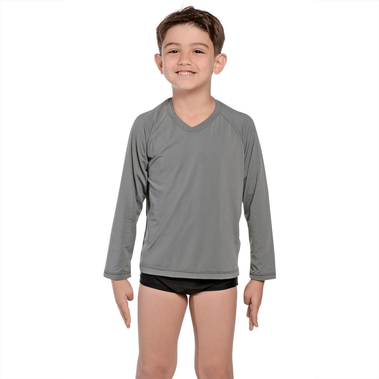 Camiseta Infantil Manga Longa UV 50+ Cinza