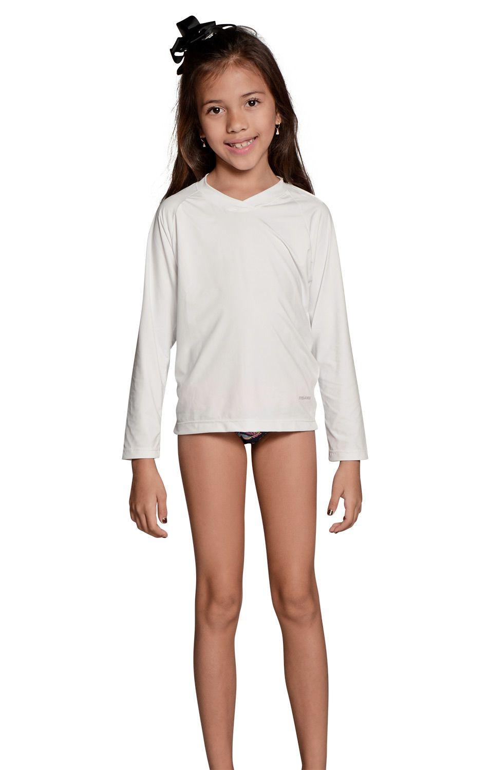 Camiseta Uv Praia Infantil Branca