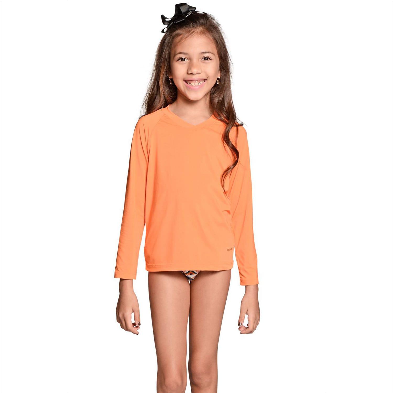 Camiseta Infantil Manga Longa UV 50+ Laranja