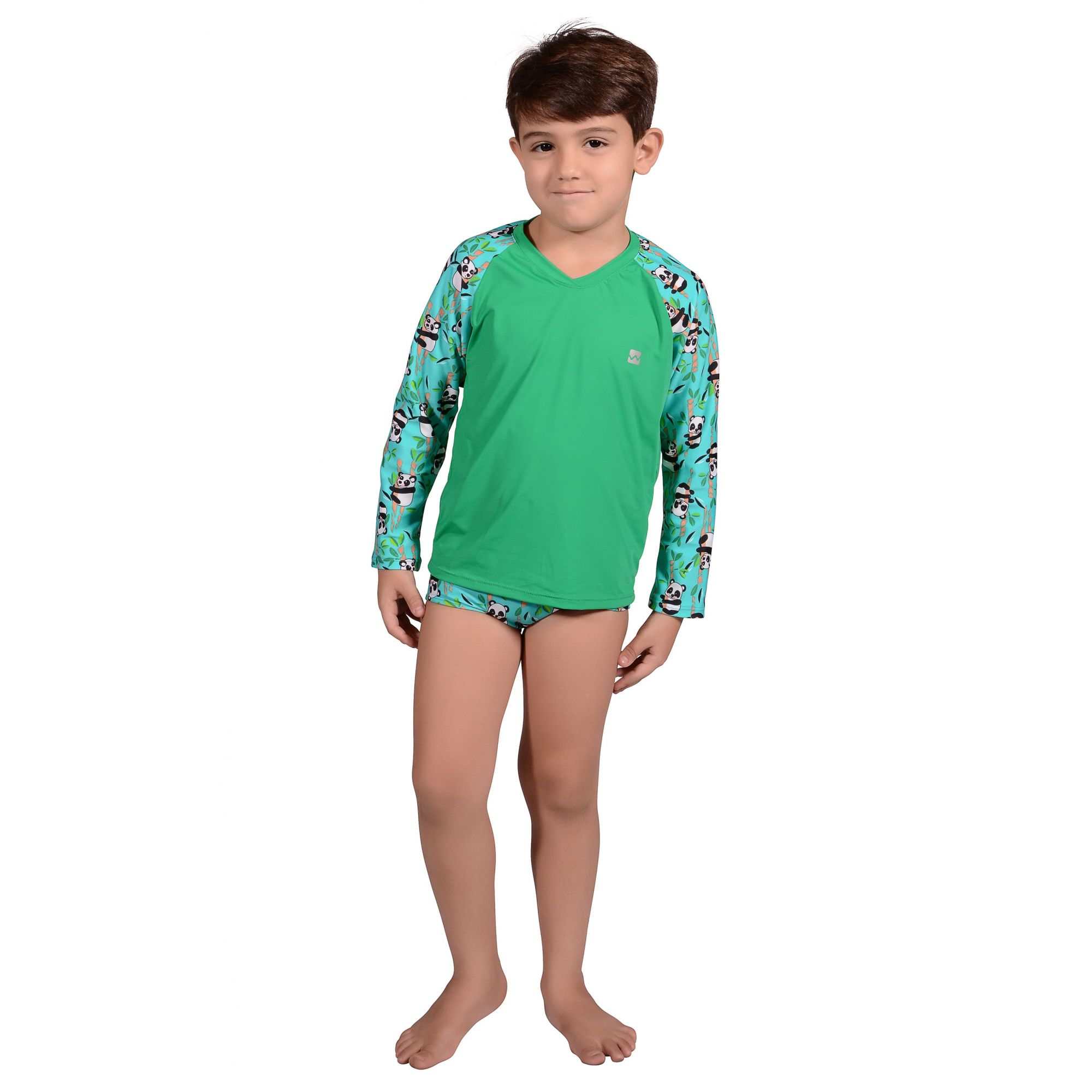 Camiseta Infantil Manga Longa UV 50+ Panda