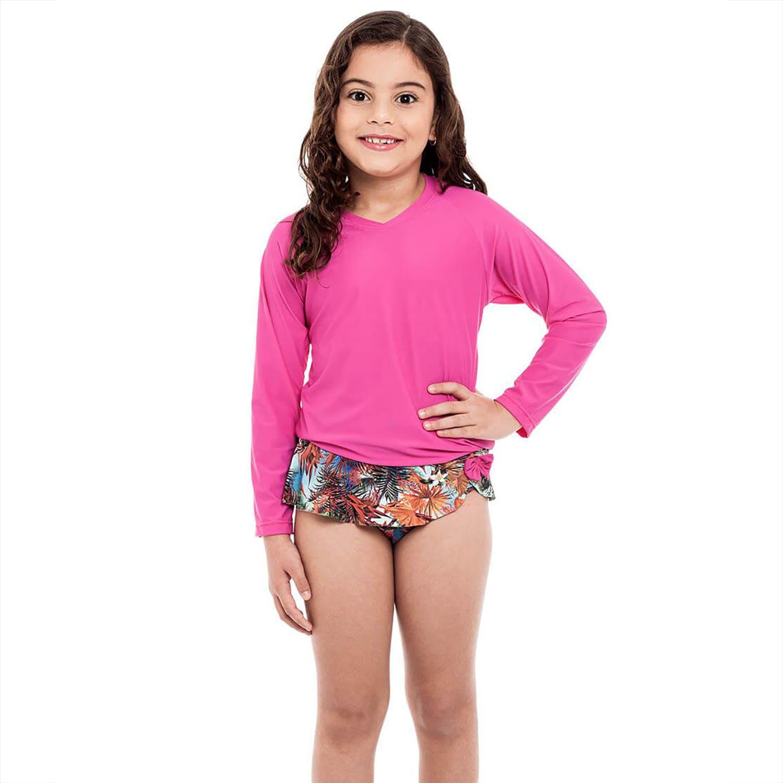Camiseta Infantil Manga Longa UV 50+ Pink