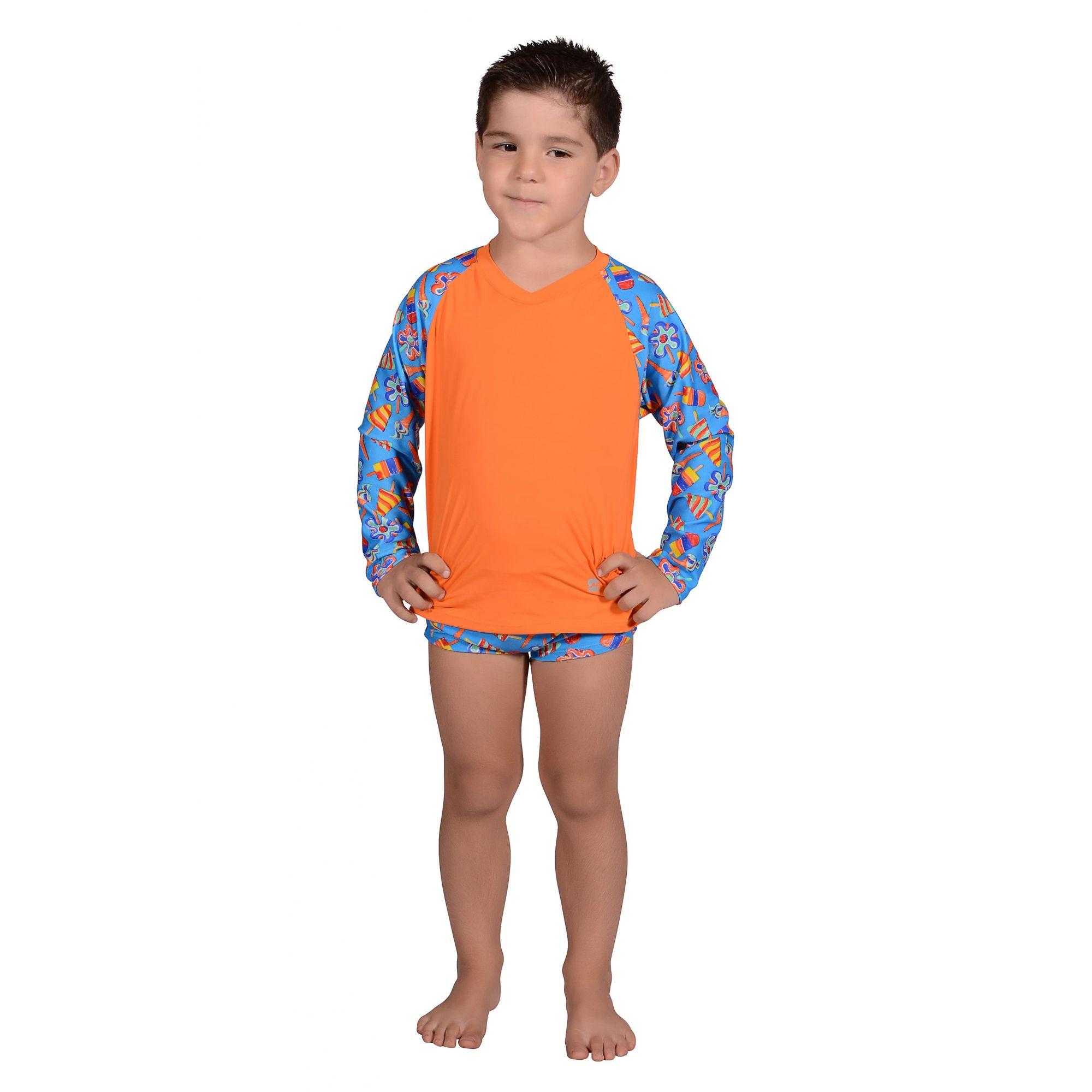 Camiseta Infantil Manga Longa UV 50+ Sorvete Azul