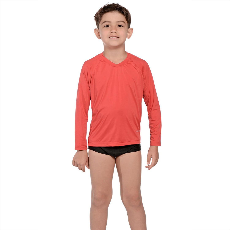 Camiseta Infantil Manga Longa UV 50+ Vermelho