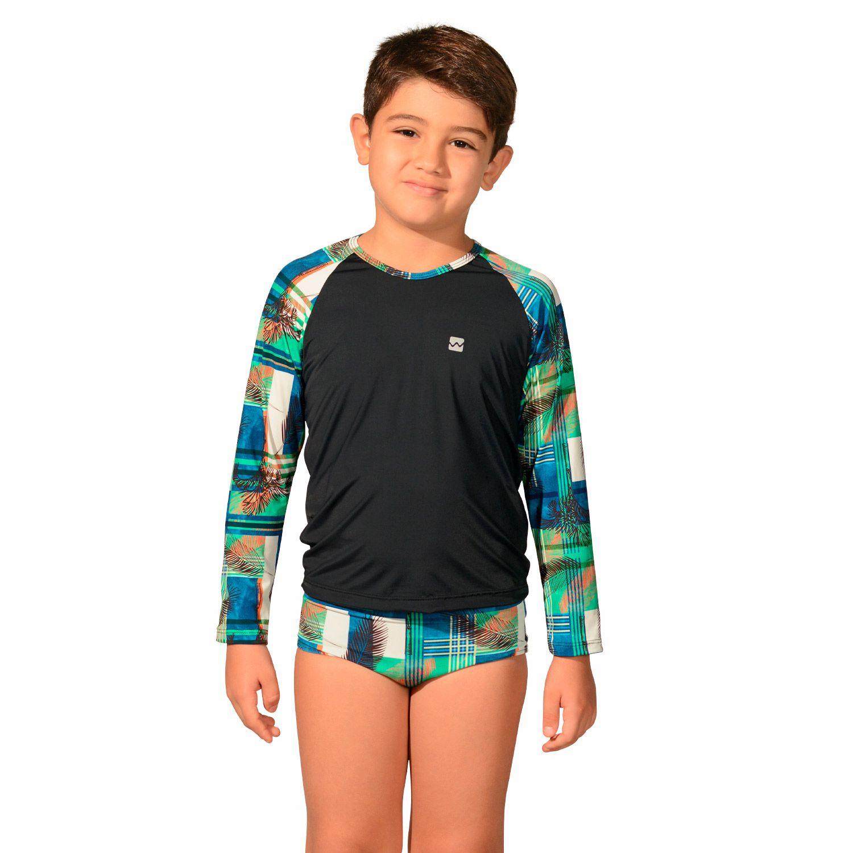 Camiseta Infantil Manga Longa UV 50+ Xadrez Preto