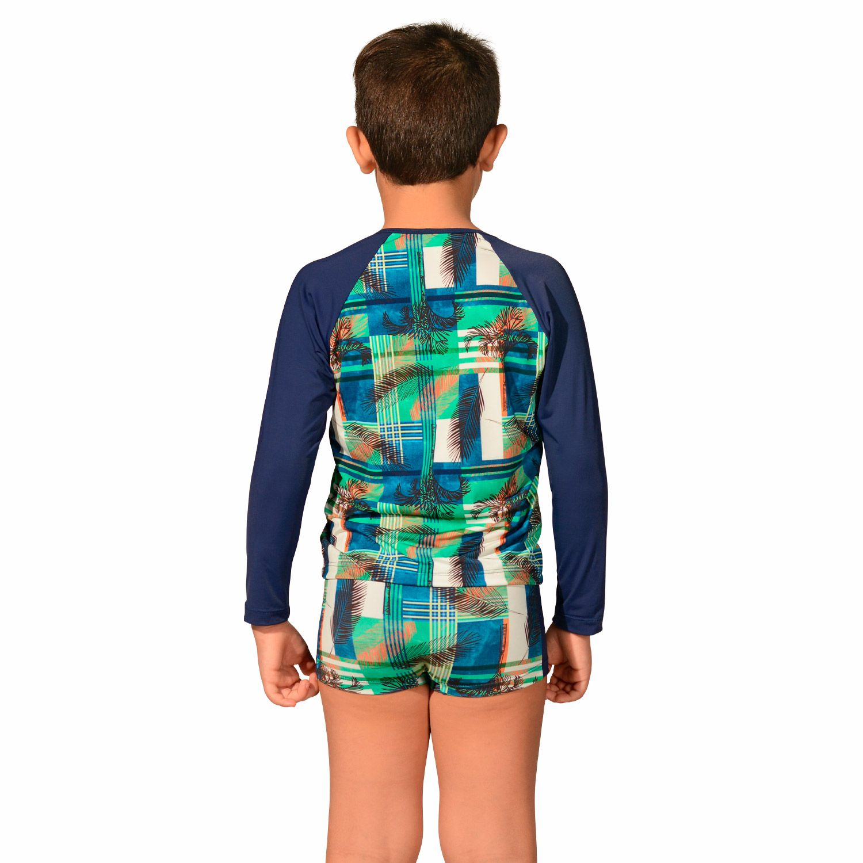 Camiseta Infantil Manga Longa UV 50+ Xadrez
