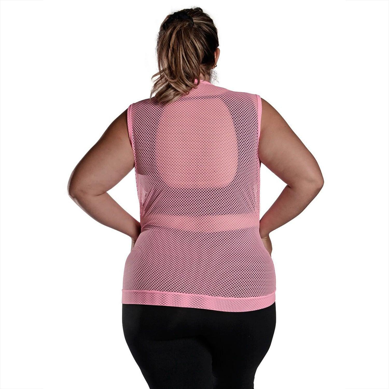 Colete Feminino Plus Size em Tela com Bolsos e Zíper Frontais Rosa Fluorescente