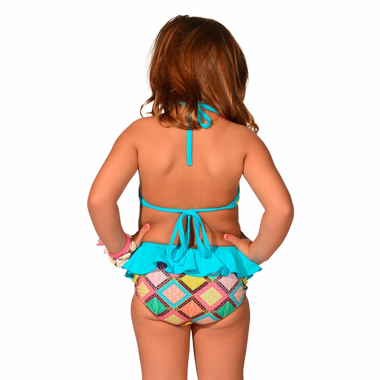 Biquíni Infantil Cropped Frente Única com Babados e Calcinha com Babado Azulejo