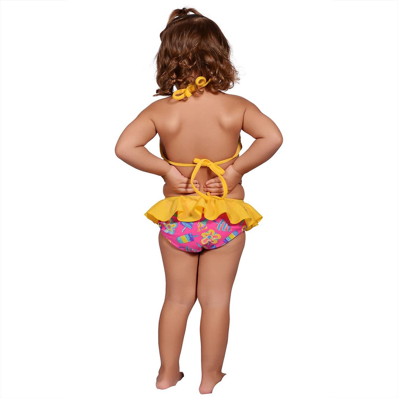 Biquíni Infantil Cropped Frente Única com Babados e Calcinha com Babado Sorvete