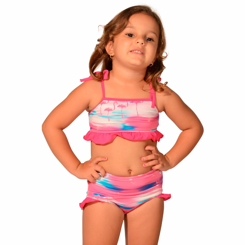Biquíni Infantil com Alças Finas de Amarrar e Calcinha Larga com Detalhes em Babados Flamingo