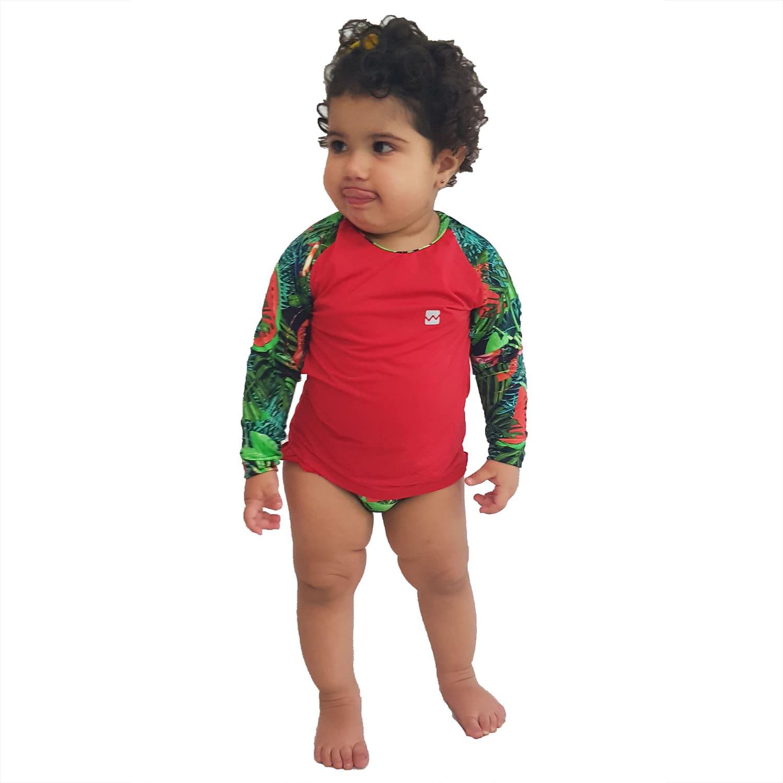 Conjunto Proteção Solar Bebê Infantil Praia UV50+ Melancia