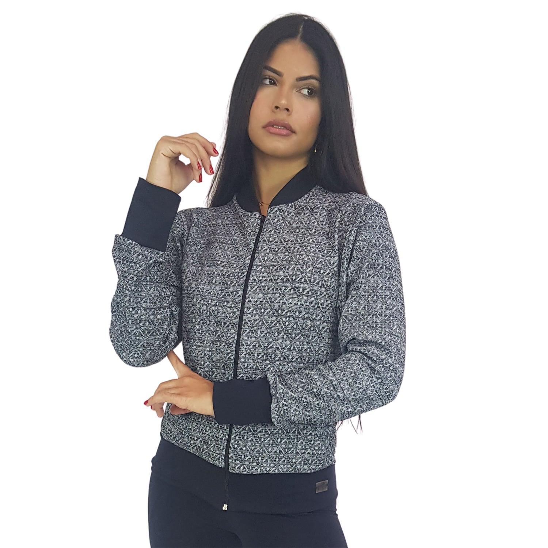 Jaqueta Bomber Feminina em Renda com Ziper Preto