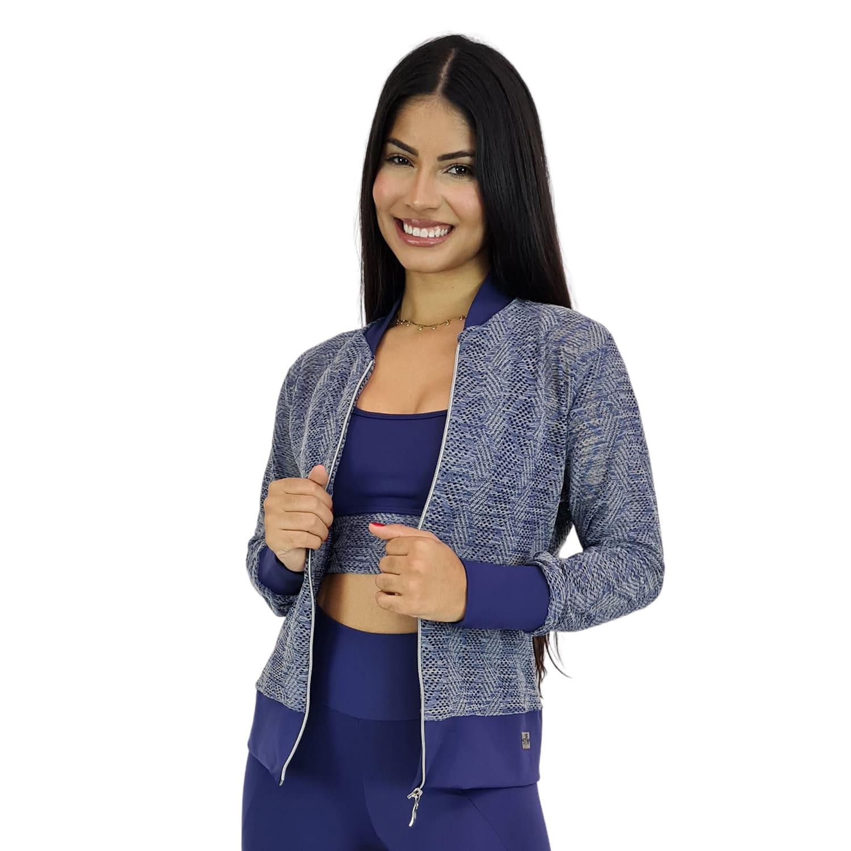 Jaqueta Bomber Feminina Plus Size em Renda com Zíper Azul Marinho
