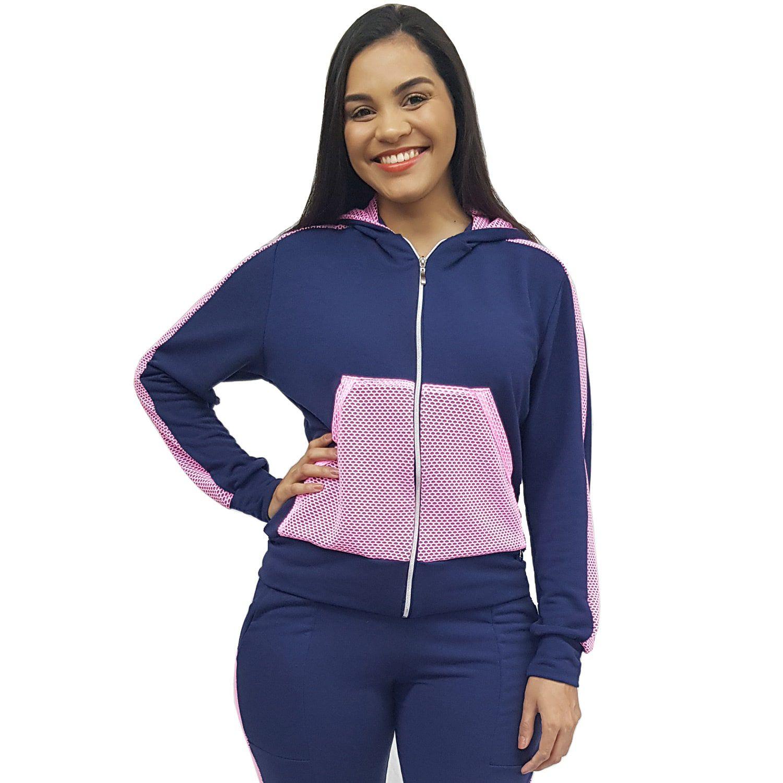 Jaqueta Bomber Feminina Recortada com Capuz e Bolso Canguru de Moletinho Azul Marinho