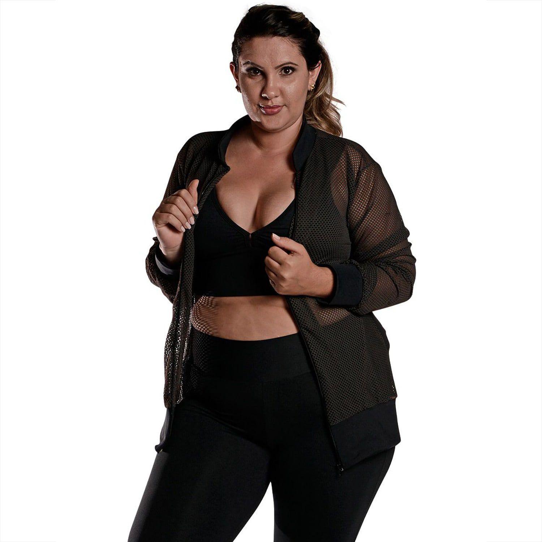 Jaqueta Bomber Feminina Plus Size em Tela com Bolsos e Zíper Preto