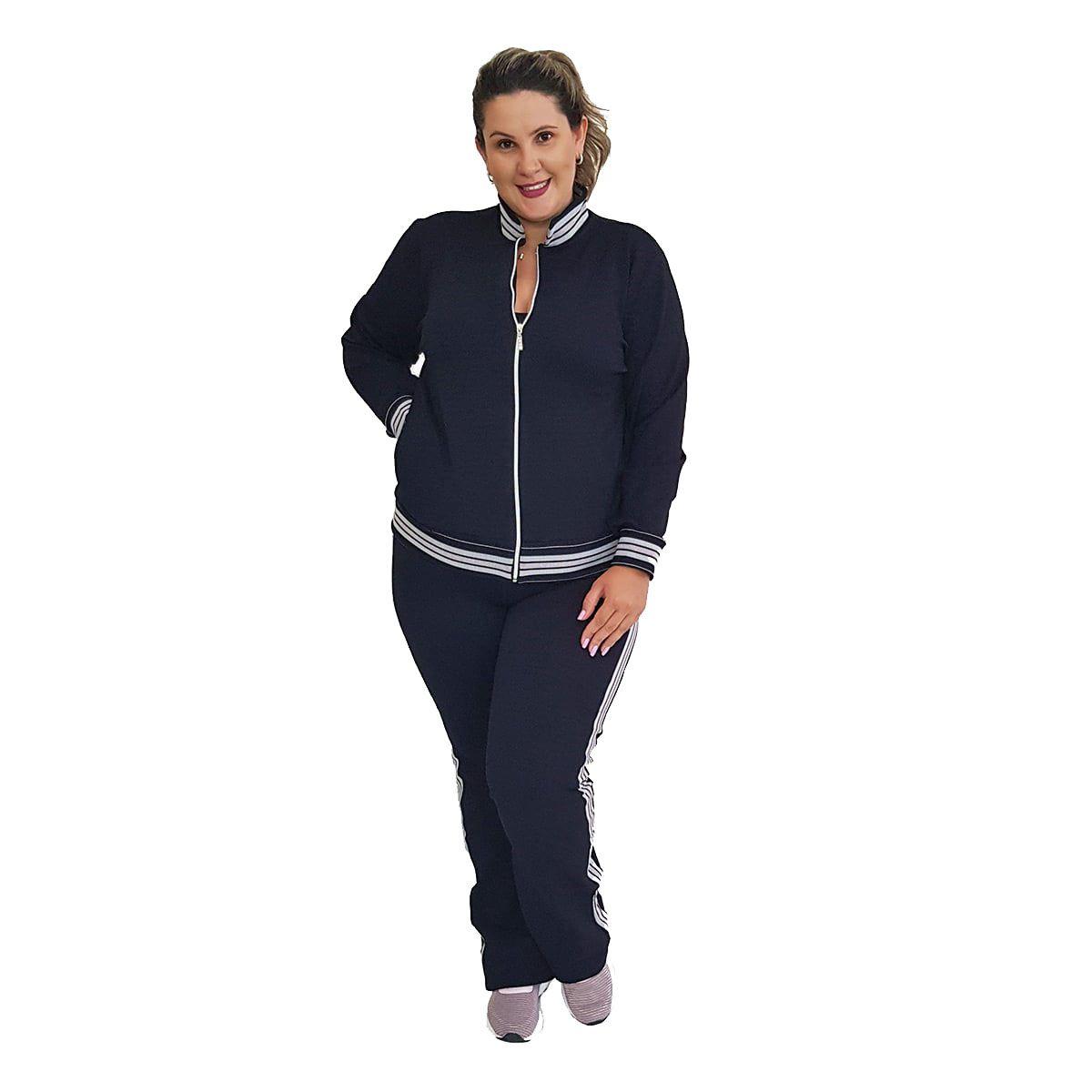 Jaqueta Bomber Feminina Plus Size Jacquard com Bolsos e Zíper Preto