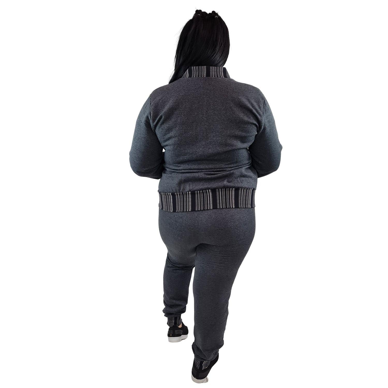 Jaqueta Feminina Moletom Plus Size com Bolsos e Zíper Cinza Escuro